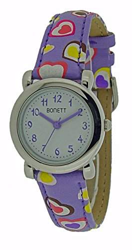 Bonett Maedchen-Armbanduhr Analog Quarz Herz Violett 1289L
