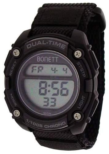 Bonett Jungen - Armbanduhr Jugenduhr Digital Klettband 5 Alarme Chrongraph Licht 1338S