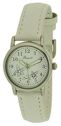 Bonett Maedchen - Armbanduhr Blumen Analug Quarz weiss 1346H