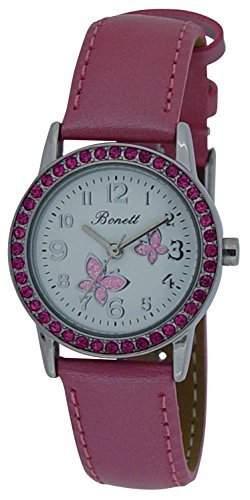 Bonett Maedchen-Armbanduhr Schmetterling Analog Quarz rosa 1348P