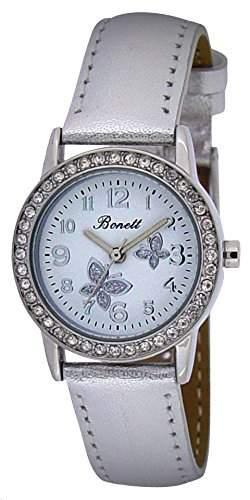 Bonett Maedchen-Armbanduhr Schmetterling Analog Quarz silber 1348S