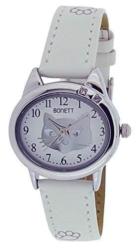 Bonett Maedchen - Armbanduhr Katze Analug Quarz weiss 1354H