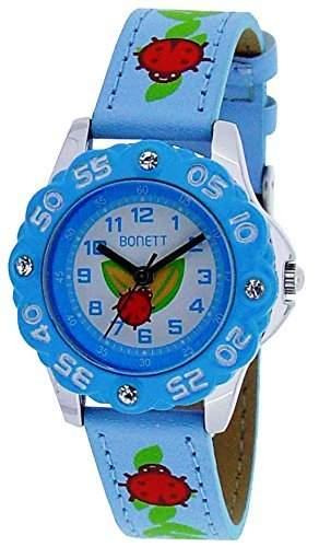 Bonett Maedchen - Armbanduhr Kaefer Analog Quarz Leder Blau 1368B