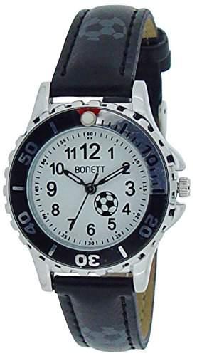 Bonett Jungen - Armbanduhr Fussball Analog Quarz Leder 1369GH