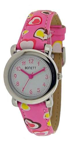 Bonett Maedchen-Armbanduhr Analog Quarz Herz Rosa 1289P