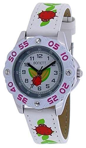 Bonett Maedchen - Armbanduhr Analog Quarz Herz 5 Bar weiss 1088H