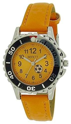 Bonett Jungen - Armbanduhr Fussball Analog Quarz Leder Orange 1369O