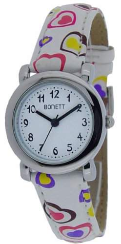 Bonett Maedchen-Armbanduhr Analog Quarz Herz Weiss 1289H