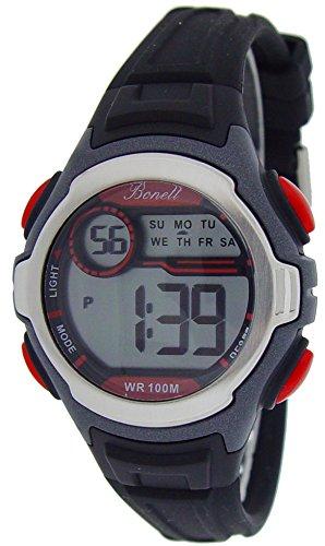 Bonett 1224 Kinder Armbanduhr Digitaluhr Chronograph 10 bar Alarm Licht Kalender Schwarz