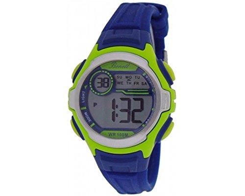 Bonett 1400G Kinder Armbanduhr Digital Quarz Chronograph 10 bar Alarm Licht Kalender Blau