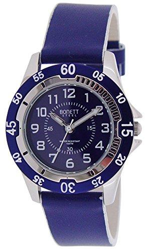 Bonett Jungen und Maedchen Armbanduhr Jugenduhr Analog Quarz Leder Blau 10 bar 1405B