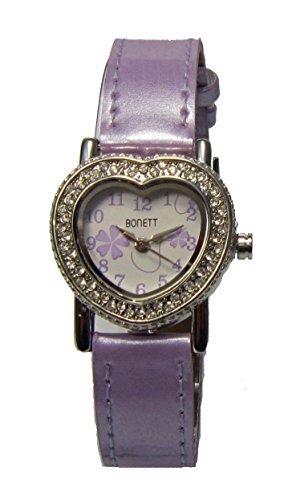 Bonett Analog Herz mit Kristallen und Lederband 1051L