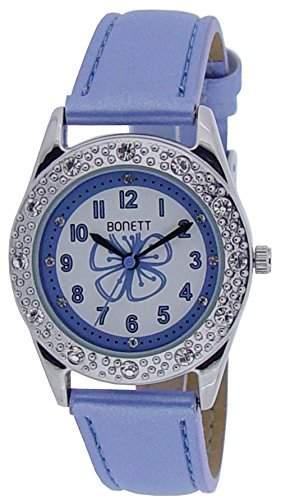 Bonett Maedchen - Armbanduhr Analog Quarz Leder Blau 1367B