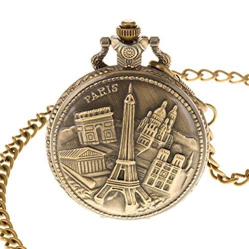 NEU Pacifistor Unisex Taschenuhr Analog Quarz Uhren Romantische Geschenk Uhr Edelstahl MIT Ketten Bronze