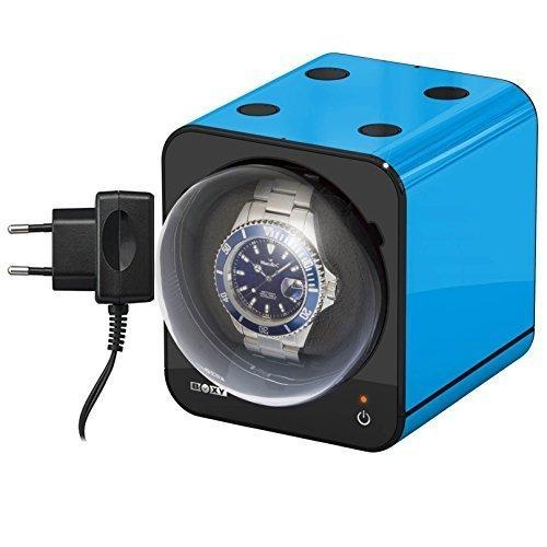 Uhrenbeweger Boxy Fancy Brick Farbe BLAU INKLUSIVE Netzadapter von BECO Technic MODULARES SYSTEM Power Sharing Technologie Programmierbar Qualitativ hochwertig