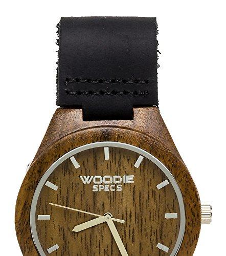 Herren Holz Armbanduhr aus mit 100 natuerlichen Nussbaum Holz und einem schwarz Leder Band von Woodie Spezifikationen