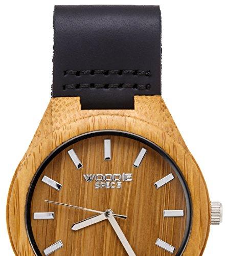 Herren Holz Uhr hergestellt mit 100 Bambus und ein Leder Band von Woodie Spezifikationen
