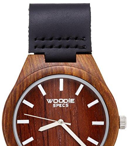 Herren Holz Uhr mit 100 aus Palisander und ein schwarz Leder Band von Woodie Spezifikationen