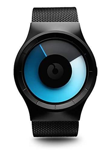 ZIIIRO Celeste Black Mono Unisex Uhr Edelstahl Meshband Uhr - designed in Germany