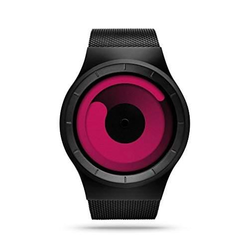 ZIIIRO Mercury black - magenta Watch Unisex Uhr Stahlmaschenband  Designed in Germany