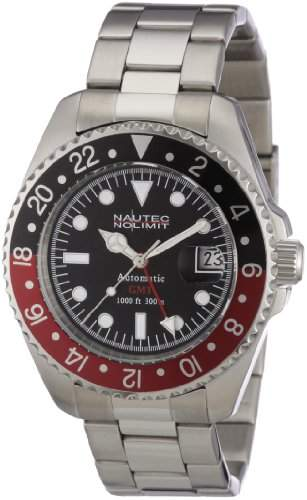 Nautec No Limit Herren-Armbanduhr Deep Sea Analog Automatik DS AT-GMTSTSTRDBK
