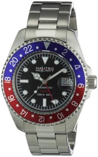 Nautec No Limit Herren-Armbanduhr Deep Sea Analog Automatik DS AT-GMTSTSTRDBLBK