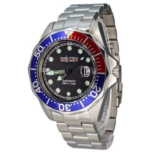 Nautec No Limit Herren-Armbanduhr Deep Sea Bravo Analog Automatik DSB ATSTSTRDBLBK