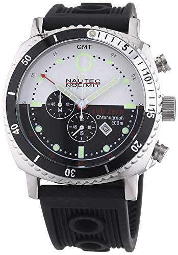 Nautec No Limit Herren-Armbanduhr Sub Zero SZ QZ-GMTRBSTSTBKWH