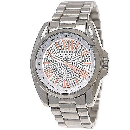 Designer Moderne Damen Armband Uhr Silber Rose Gold inkl Uhrenbox