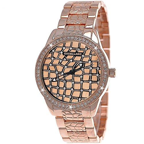 Designer Strass Moderne Damen Kristall Armband Uhr Rose Gold inkl Uhrenbox