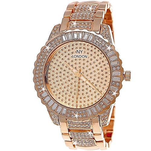 Edle XXL designer Strass Damen Armband Uhr in Rose Gold inkl uhrenbox