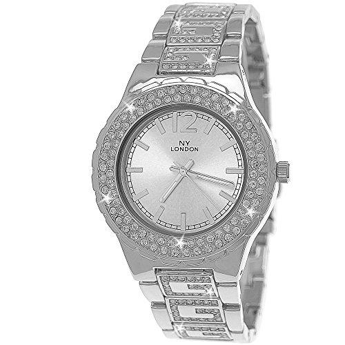 Edle G Muster designer Strass Damen Armband Uhr in Silber inkl Uhrenbox