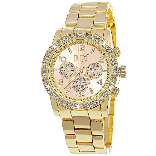 Pure Time designer Exclusive Damen Strass Uhr in Chronograph Optik Weiss Gold C4