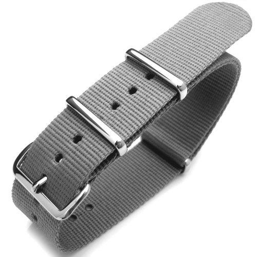 22 mm G10 NATO Uhrenarmband aus Nylon hellgrau poliert Hardware