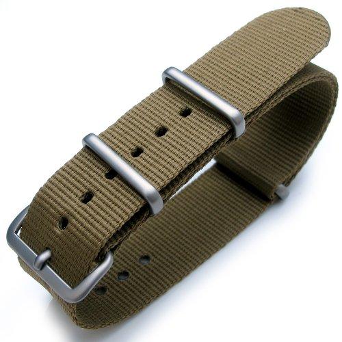 20 mm G10 NATO Uhrenarmband aus Nylon Military Gruen gebuerstet Hardware