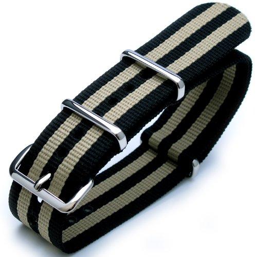 24 mm G10 NATO Uhrenarmband James Bond Nylon poliert Schnalle J02 Double Schwarz Khaki
