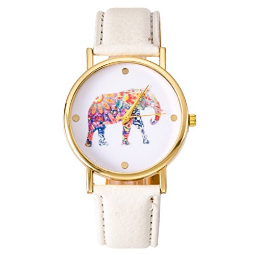 Damen Big Colorful Elefant Gold Zifferblatt Leder Quarz Weiss
