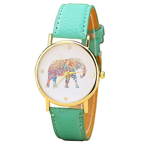 Damen Big Colorful Elefant Gold Zifferblatt Leder Quarz Damen Armbanduhr Mint Gruen