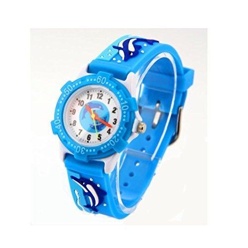 Sky blau Maedchen Jungen Delfine Silikon Umweltfreundlich Cartoon Armbanduhr Geschenk