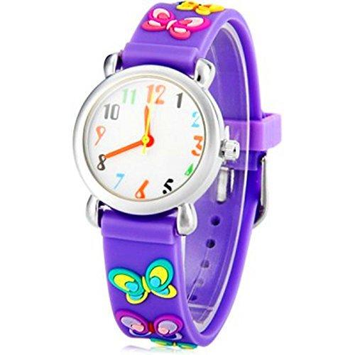 NEU Maedchen 3D Schmetterling lila Gummi Kinder Cartoon Armbanduhr Xmas Geburtstag Geschenk Umweltfreundlich