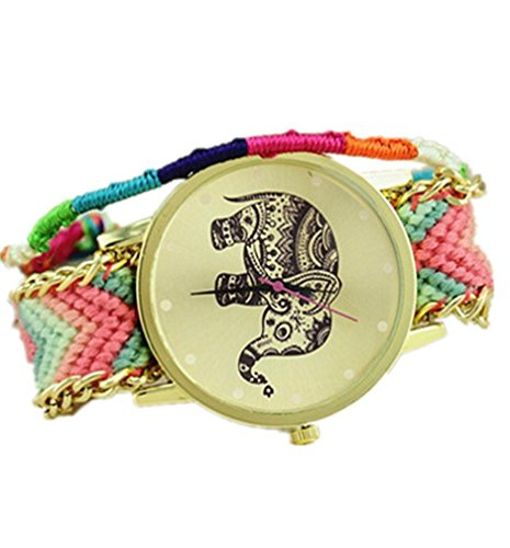 Damen Tribal Elefant Gold Zifferblatt Wolle Tuch Braid Kette Armband Armbanduhr 3 Pink