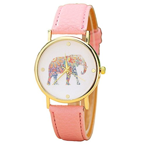 vavna Damen Big Colorful Elefant Gold Zifferblatt Leder Quarz Pink