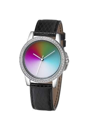 Rainbow e-motion of color Damen-Armbanduhr Avantgardia crystal Losagna Black gamma Analog Quarz Leder AV21A-LB-ga