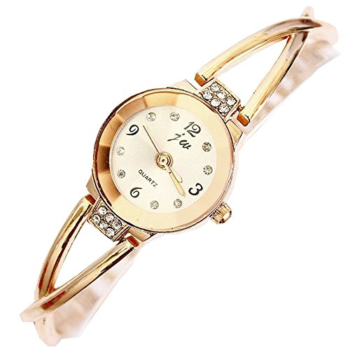 Damen Gold Armband Armbanduhr Kette Strass