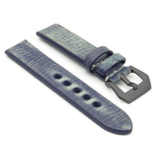 strapsco 26 mm blau stark Distressed Vintage Leder Armbanduhr Band W schwarz Pre V Dornschliesse