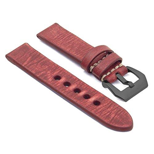strapsco rot 24 mm dick Distressed Vintage Leder Armbanduhr Band W schwarz Pre V Dornschliesse