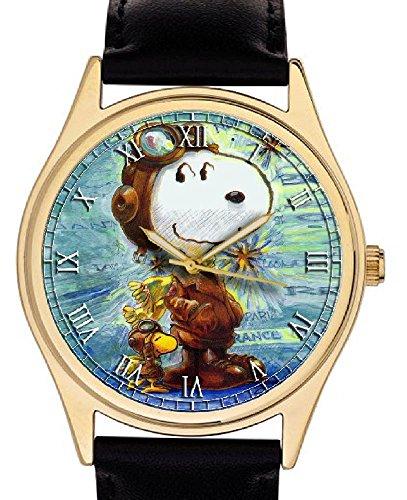 Vintage Schulz Snoopy rot Baron Luftfahrt Kunstdruck 40 mm Wool Collectible Peanuts Comic Art Armbanduhr