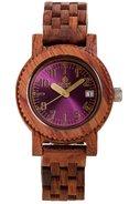 Gespannter Holz m5200r Herren Holz Armband Band Rosa Zifferblatt Runde Uhr