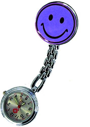 Schwesternuhr Uhr Smiley Clip violett 2er Set 2 Stueck Tiga Med Krankenschwester Pulsuhr