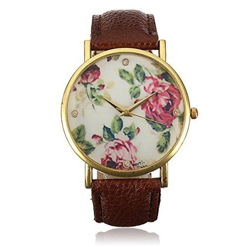 Kaffee Vintage Blume Armbanduhr Basel Stil Quarzuhr Lederarmband Uhr Rose Damenuhr